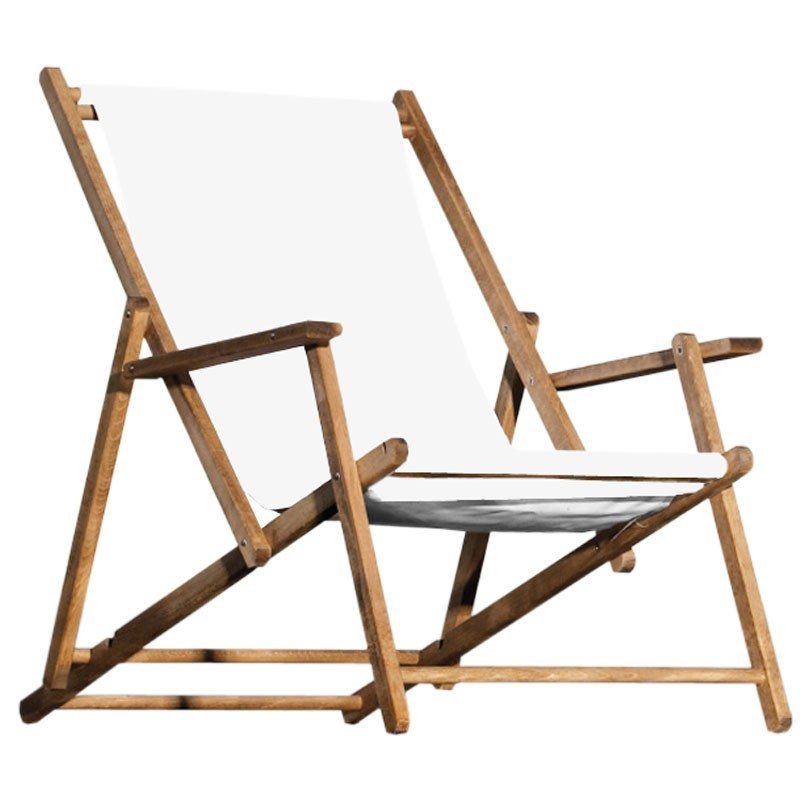 jan kurtz deckchair weiss strandstuhl teak holz klappbar ebay. Black Bedroom Furniture Sets. Home Design Ideas