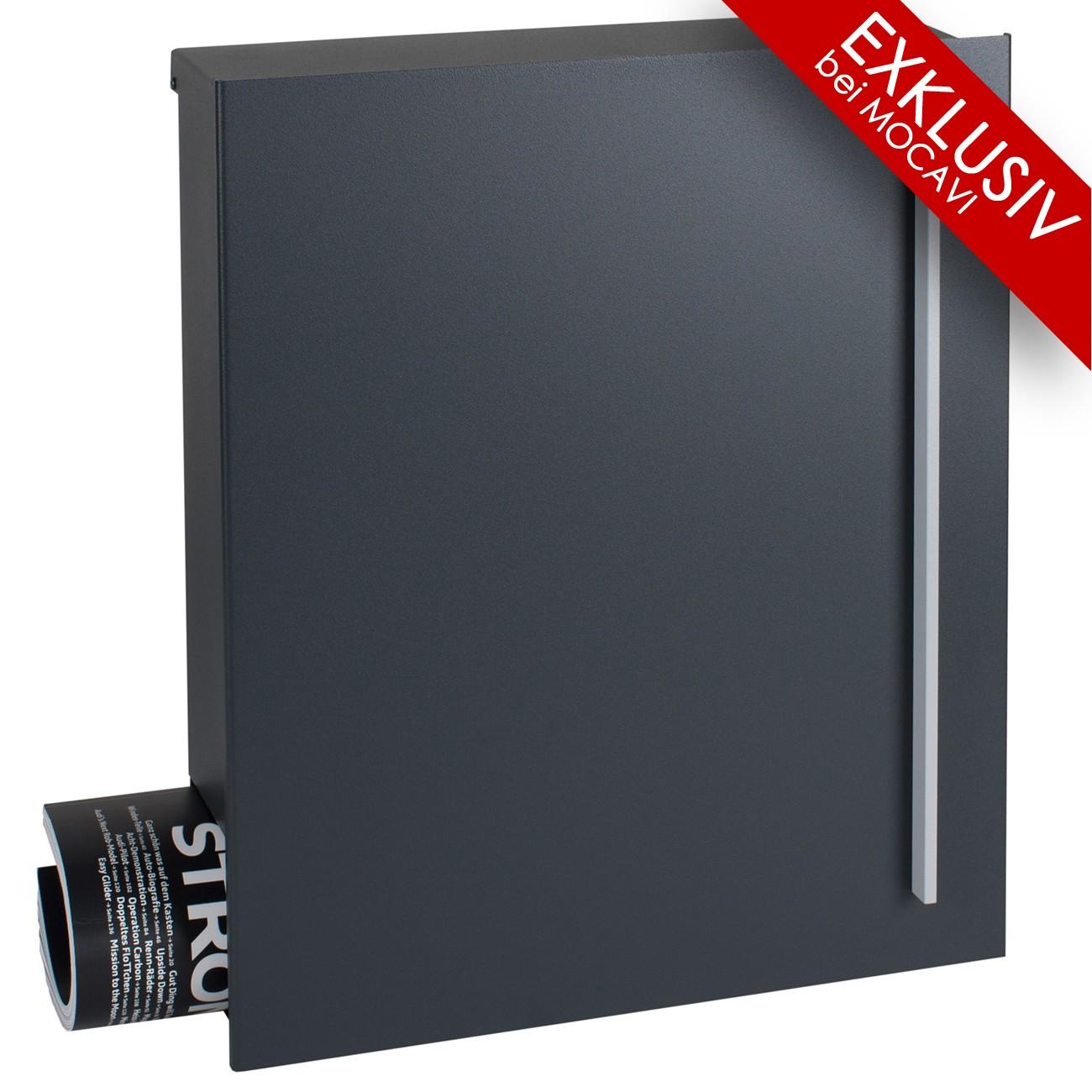 design briefkasten mit zeitungsfach mocavi box 110 anthrazitgrau ral 7016 mit zeitungsfach. Black Bedroom Furniture Sets. Home Design Ideas