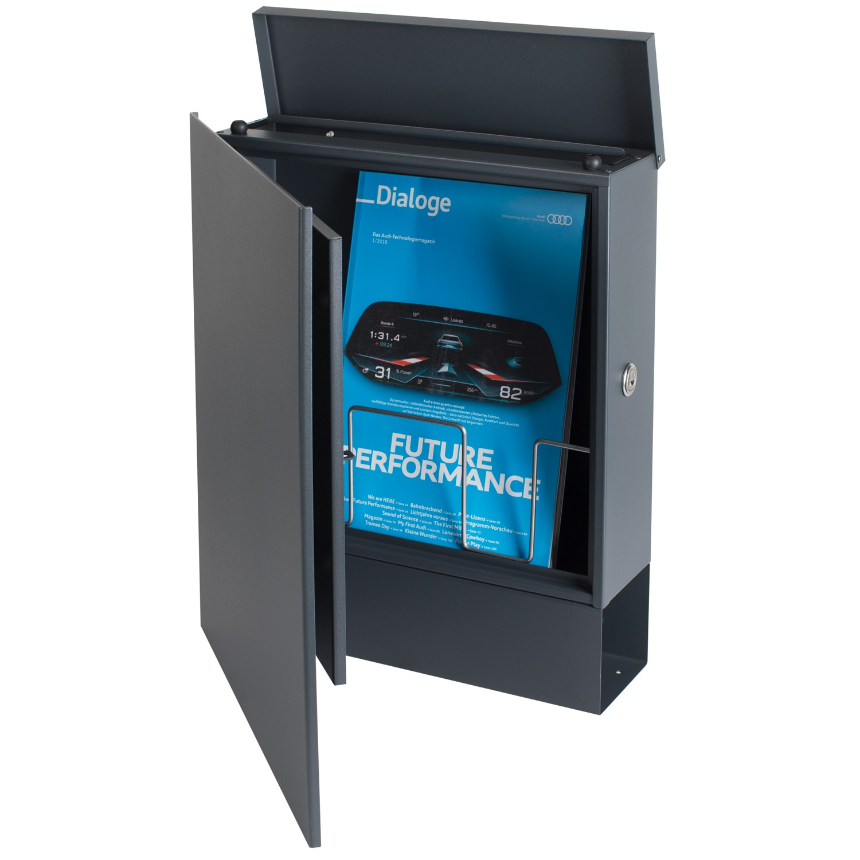 design briefkasten mit zeitungsfach anthrazitgrau ral 7016 mocavi box 111 wandbriefkasten 12. Black Bedroom Furniture Sets. Home Design Ideas