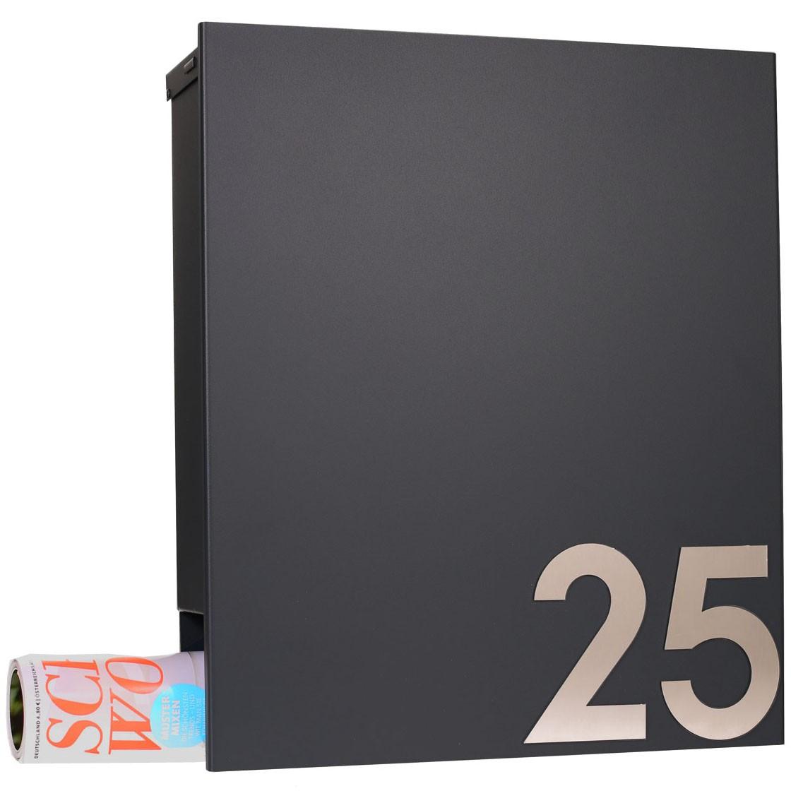 design briefkasten mit zeitungsfach anthrazitgrau ral. Black Bedroom Furniture Sets. Home Design Ideas
