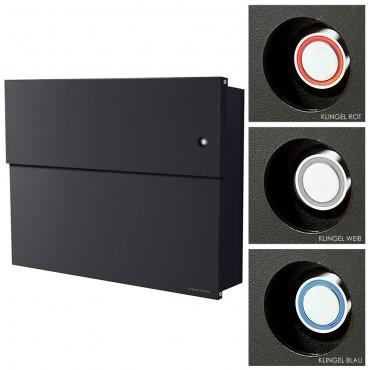 radius briefkasten letterman xxl 2 schwarz mit led klingel. Black Bedroom Furniture Sets. Home Design Ideas