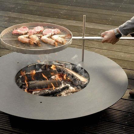radius 100 cm edelstahl fireplate feuerstelle grill nachr stbar 531 f feuer grill feuerstellen. Black Bedroom Furniture Sets. Home Design Ideas