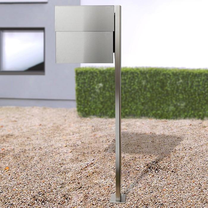 radius standbriefkasten letterman xxl 2 edelstahl inkl zeitungsfach mit pfosten 568 eingang. Black Bedroom Furniture Sets. Home Design Ideas