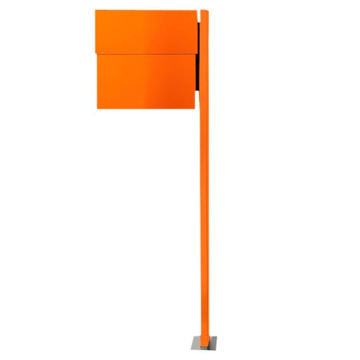 radius standbriefkasten letterman xxl 2 orange inkl zeitungsfach mit pfosten 568 a eingang. Black Bedroom Furniture Sets. Home Design Ideas