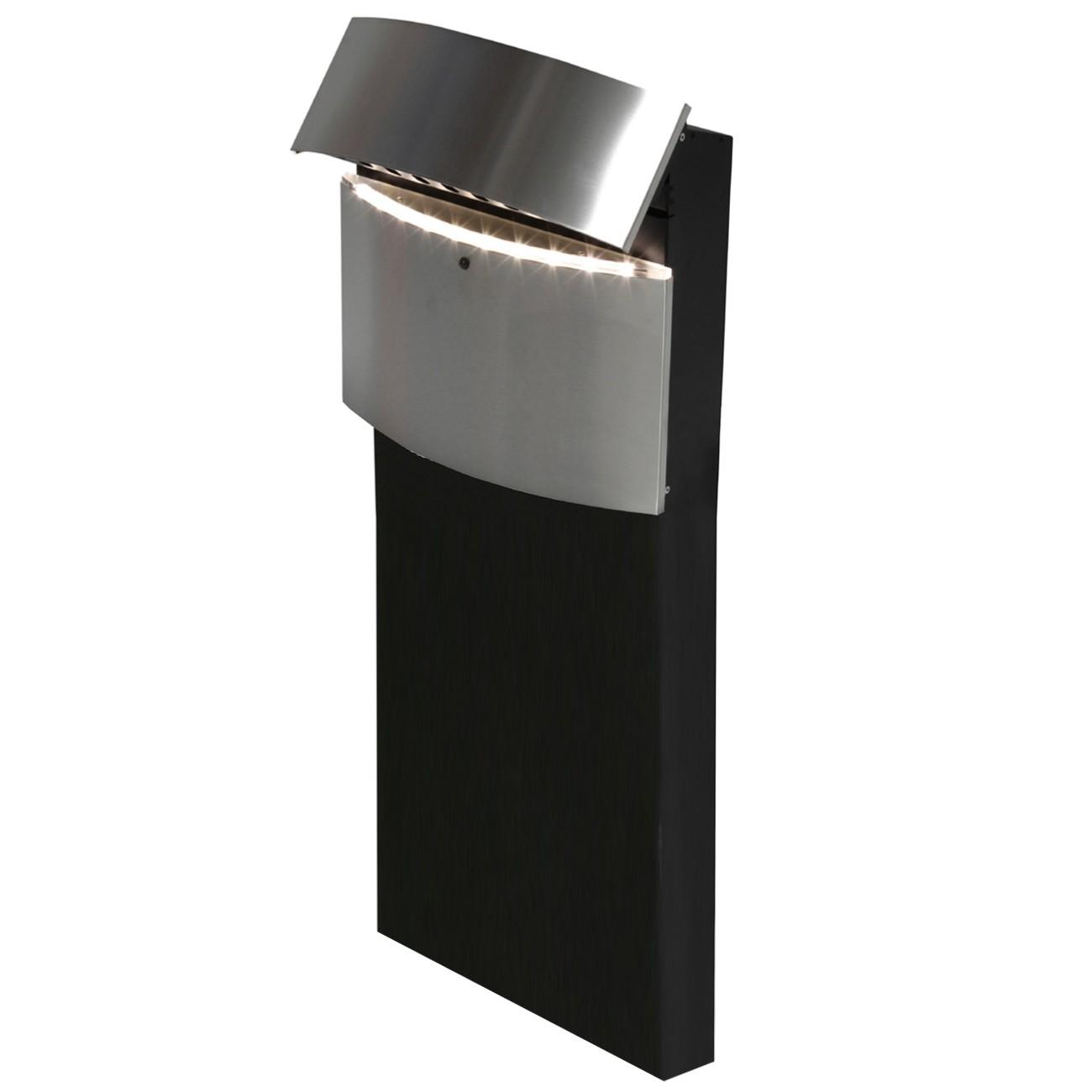 safepost 128 led standbriefkasten schwarz mit edelstahlfront 100 x 40 cm eingang garten. Black Bedroom Furniture Sets. Home Design Ideas