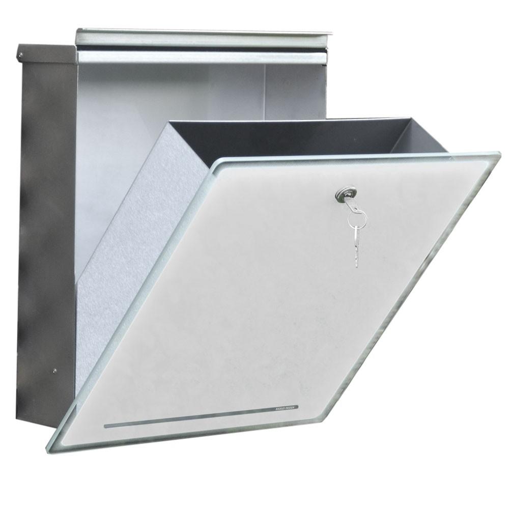 radius letterman 3 edelstahl glas weiss briefkasten 559 a eingang garten briefk sten. Black Bedroom Furniture Sets. Home Design Ideas